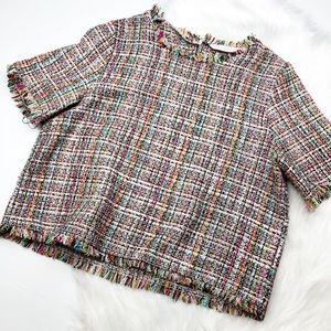 Zara Tweed Fringe Crop Top